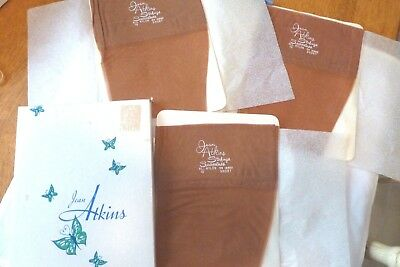 3 pr Vintage Nylon Stockings RHT Walking Sheer Lace Welt Jean Atkins