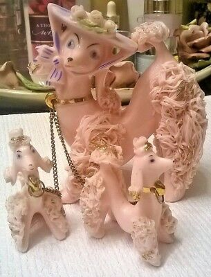 Vintage Set 3 Pink Spaghetti Porcelain French Poodles Japan Original