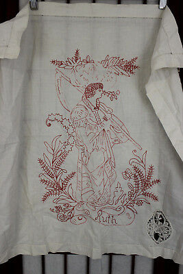 Small Antique Handmade Chain Stitched Woman Embroidered Table Cover Cloth Craft