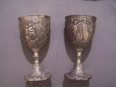2 Vintage Corbell & Co Silver Plate Wine Goblet Angels & Grapes Design