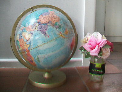 Vintage World Globe 12 Inch Axis Ussr Metal Base