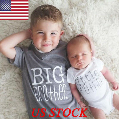 Newborn Baby Boys Little Brother T-Shirt Tee Tops Romper Bodysuit Outfit Clothes