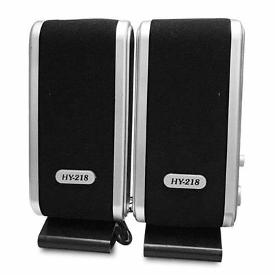 2X Black Multimedia Stereo Usb Speakers System For Laptop Desktop Pc Computer Is