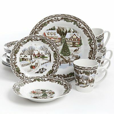 Gibson Home Christmas Toile 16 Piece Dinnerware Set Multicolor  sc 1 st  PicClick & GIBSON HOME Christmas Toile 16 Piece Dinnerware Set Multicolor ...