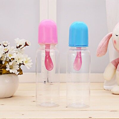 AU Baby Silicone Squeeze Feeding Bottle Food Water Milk Feeder With Spoon Safety