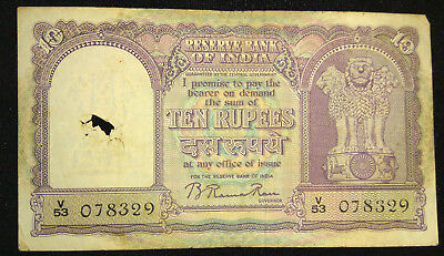 Old India~ 10 Rupee ~ 3Rd Issue ~ Big Note ~ Sign By B.rama Rao ~ Good Condition