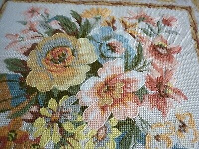 tapestry cushion hand made flowers with satin  backing in excellent condition