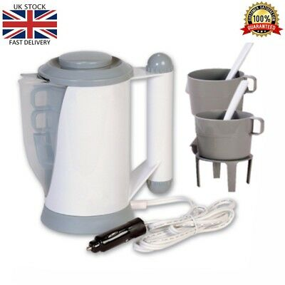 12V Electric In Car Travel Small Kettle Portable for Van Truck Lorry with 2 Cups