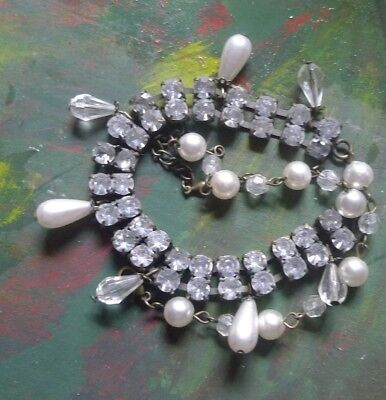 Vintage Rhinestone Necklace Pearl extention 1970s Silver -Art Deco