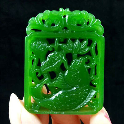 2018 new China hand-carved Green jade fish jade pendant Necklace Amulet