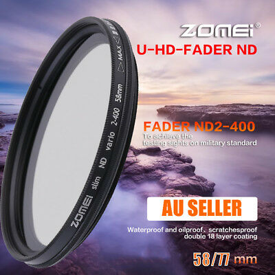 Zomei Adjustable Variable Neutral Density Filter Fader ND2-ND400 58/77mm AUS NSW