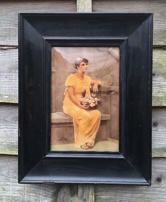 Antique Crystoleum Of A Lady In Black Lacquered Frame