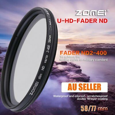 Zomei Adjustable Variable Neutral Density Filter Fader ND2-ND400 58/77mm AUS BG