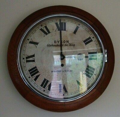 Vintage 1920's Dyson Of Windsor Oak Cased English 8 Day School/wall Clock