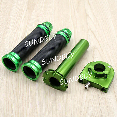 "NEW Motorcycle Dirt Bike Scooter 7/8"" CNC Hand Grips Throttle Twist Tube Green"