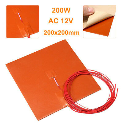 200W 12V 200x200mm Square Silicone Heater Pad 3D Printer Heated Bed Heating Mat