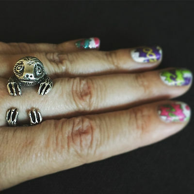 Sloth-tastic! adjustable ring three toed sloth sloths silver metal cute funny