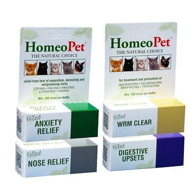 Homeopet Natural Homeopathic Remedy Feline Treatment Cat Anxiety, Worming, Cold
