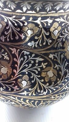 Antique brass and silver inlaid Persian vase