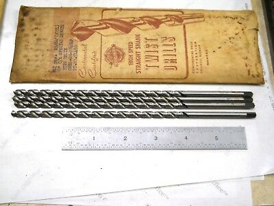 "4 -  New Usa Made Continental 13/64 (.2031) 8 "" Long Drills  For 1/4-20 Thread"