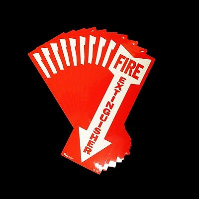 "(LOT OF 10) BL108 Self-adhesive Vinyl ""FIRE EXTINGUISHER"" Arrow Sign – 4″ x 12″"