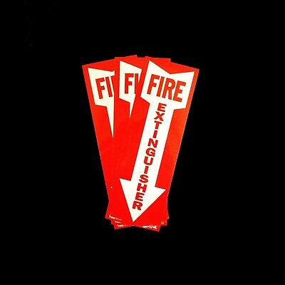 """(LOT OF 3 ) BL108 Self-adhesive Vinyl """"FIRE EXTINGUISHER"""" Arrow Sign – 4″ x 12″"""