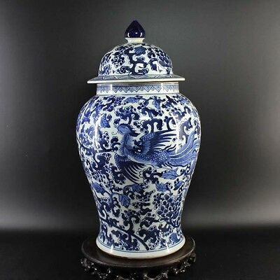 Chinese Old Marked Blue and White Phoenix Pattern Porcelain Ginger Jar