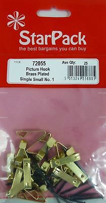 20 Picture Hook Single Small No 1 Brass Plated Hanging Wall Photo Frame Fixing