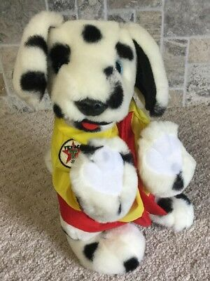 "Vintage TEXACO Dalmatian Plush Dog w/ Yellow Raincoat Texaco Logo 1998 11"" EUC"