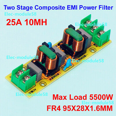Power Purifier Board Two Stage Filter Inductor 25A EMI Filter 110V-220V AC 5500W