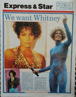 VERY RARE 1993 UK WHITNEY HOUSTON 4 Newspaper Pages - THE BODYGUARD WORLD TOUR