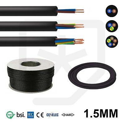 Rubber Cable 1.5mm 2, 3, 5, Core HO7RN-F Heavy Duty Camping Outdoor All lengths