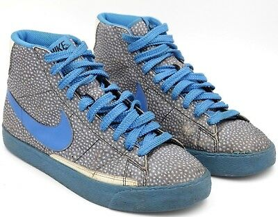 Vintage NIKE Blazer High Premium Men US 9.5M Gray Spotted Leather Blue