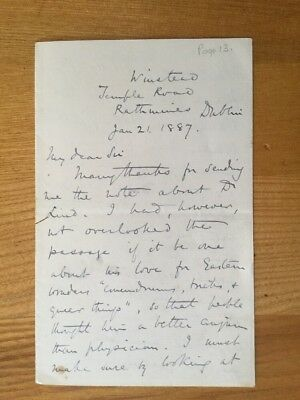 Edward Dowden, Irish Critic and Poet.  Letter dated 1887.  Refers to Shelley.