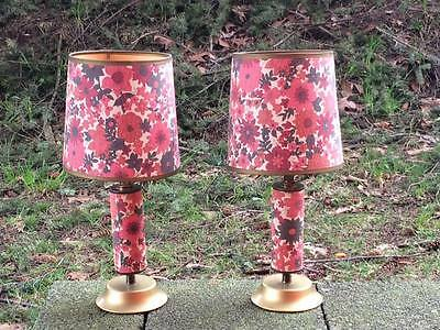 Vintage pink floral lithograph table lamps retro,funky,flowers,mid century