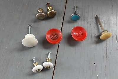 Mixed Lot 9 Antique Vintage Knob Furniture Dresser Drawer Pull Handle Hardware