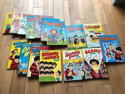 Selection Of The Beano Book Annuals, Denise The Menace, and The Dandy Annuals