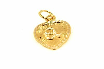 22k 22ct Solid Gold Charm Letter A Pendant Heart Design p1197 ns