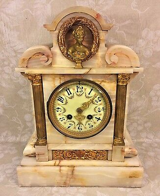 Antique Onyx Mantel Clock Japy Freres Mvmt Great Case Porcelain Dial Woman Bust
