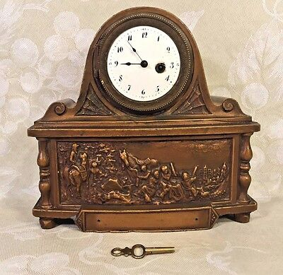 Antique French Fusee Shelf Clock Bronze Case Couturier Paris Porcelain Face Runs
