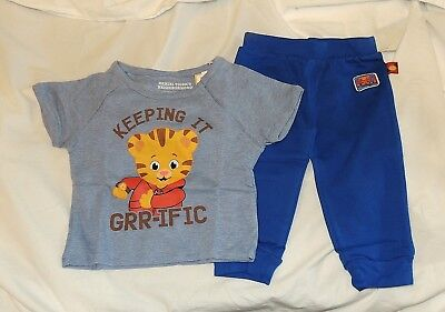 New Baby Daniel Tiger Neighborhood Outfit Sizes 18 & 24M Blue Short Sleeve Pant