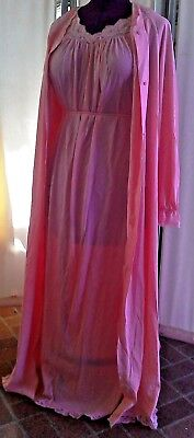 Vintage Peachy Shadowline Long Dainty Peignoir Robe Nightgown Nightie Set size L