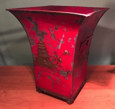 Antique Chinese Chinoiserie Tin Basket- Painted Red