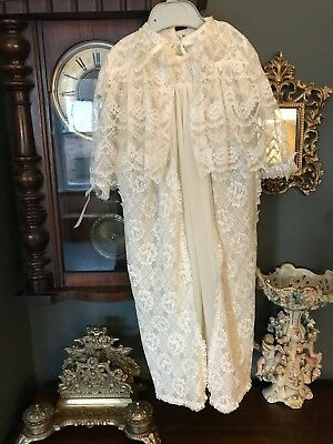 Vintage Christenining Gown With Matching Sleeved Jacket Excellent Condition