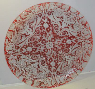 Sydensticker Fused Art Glass Plate Red Lace Doily