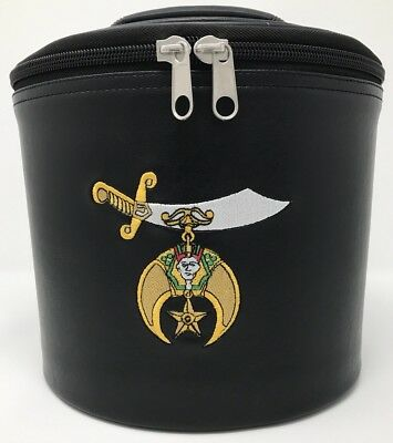New Shriner Fez Cap Case In Black With Embroidered Emblem