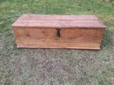 Rustic Vintage Pine Chest / Trunk / Box