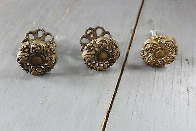 Set 3 Antique Vintage Brass Knob Furniture Dresser Drawer Pull Handle Hardware