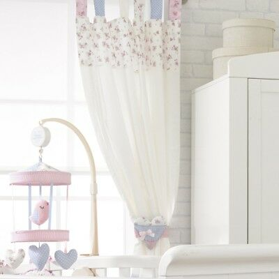 A pair of Nursery Bedroom Vintage Love & Kisses Tab Top Curtains with Tiebacks!