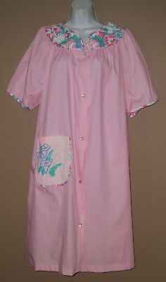 Womens Vintage Size Large Short Sleeve Spring Floral Casual House Coat Dress
